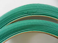 Two New Tires w/tubes 20 x 1.95 ISO 406 Green Duro BMX with Rim Strips
