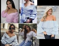 Women Bardot Top Ruffle Sleeve Waist Tie Cross Off Shoulder Gingham Shirt Blouse