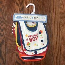 New listing Cutie Pie Baby Boy Happy Birthday Bibs Set Assorted Colors Set Of 5 New