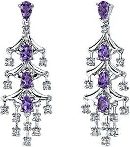 10K White Gold Over 3.84 Ct Amethyst & Diamond Women Dangle Chandelier Earrings