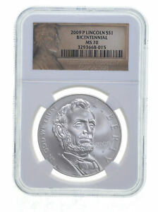 2009 P Lincoln Bicentennial Commemorative Silver Dollar NGC MS70 *0825