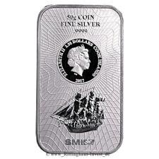 Lingot d'argent de pièces d'argent 50g Cook îles Bounty 2017 Nouveau Design 50 g