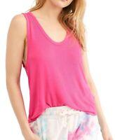 Free People Women Take The Plunge Tank Top Pink Large L Knit Scoop-Neck $38- 425