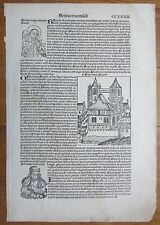 Incunable Leaf Schedel Liber Chronicorum Bridget of Sweden - 1493