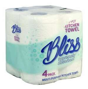 48 Bliss Kitchen Rolls Towel 10m Per Roll 2 Ply White Strong & Absorbent