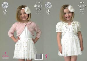 King Cole Galaxy Double Knitting Pattern Girls Boleros Flower Detail Collar 4406