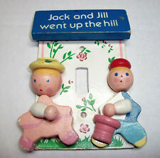 VTG Mid-Century Wooden Jack & Jill Light Switch Plate Cover Nursery Decor Single