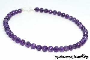 Natural Amethyst Necklace 8mm Beaded Stress Relief Bracelet Gemstone 16-26inch