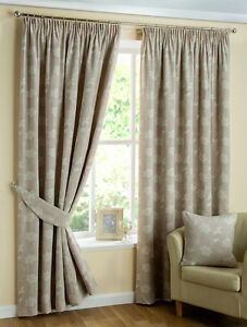 FULLY LINED READY MADE  CURTAINS, IN 2 COLOURS, ALL SIZE (WITH FREE TIE BACKS)