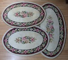 3 Matching Vintage Hand Hooked Rugs - Oval, Floral, Black/Red/Pink/Green/Cream