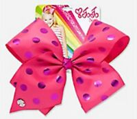 NWT JoJo Siwa Pink Metallic Dots Large Hair Bow 🎀 Cheer Dance Pageant School