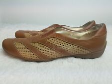 Sesto Meucci Women's Size 8.5 M  Perforated Brown Leather Shoes Loafers