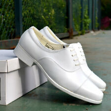 Men's White Lace-up Oxfords Formal Bridal Leather Shoes Block Heels Dress Shoes