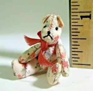 "miniature vintage TEDDY BEAR artisan 1:12 dollhouse jointed CHINTZ 1.25"" P. Svec"