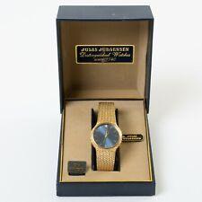 Jules Jurgensen Men's Quartz Wristwatch One Diamond Blue Face Gold Tone Band