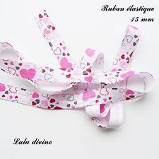 Ruban élastique blanc Coeur fuchsia noir rose clair de 15 mm vendu au mètre