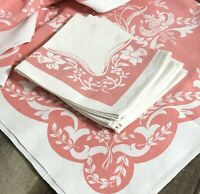 Vintage Floral Print Tablecloth with 4 Matching Napkins