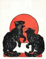 Halloween 2 Black Cats Orange Moon Very Old art