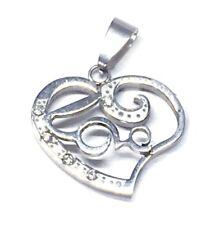 Kettenanhänger aus Edelstahl Herz Love mit Strass Silber 2,5cm