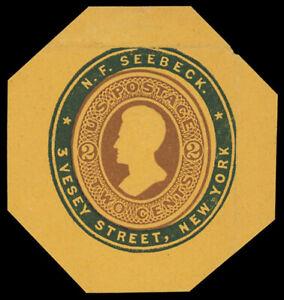 """2¢ brown on orange #U80 unused cut square with blue """"N.F. Seeback"""" ad collar, VF"""