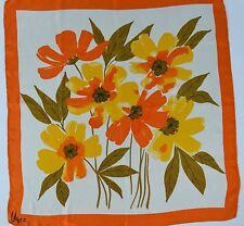 Vera Neumann Silk Scarf Floral Hand Rolled Orange Yellow Flowers 26in 70s Vtg