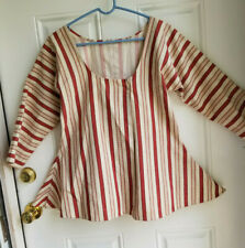18th C Ladies Striped Linen Short Gown for Reenactors &Theater, Rev War/Colonial