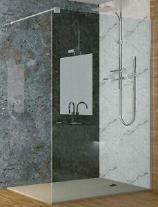 Mampara de ducha económica cristal fijo, transparente de 6 mm, altura 200 cm