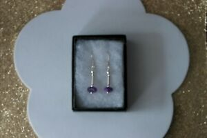 Beautiful Earrings With Amethyst 1.8 Grams 2.2 Cm. Long + Hooks In Gift Box