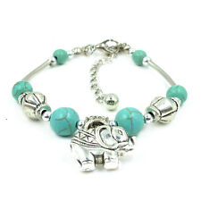 Silver Pld Tibetan Turquoise Bracelet Bead Adjustable Bangle Elephant Jewelry