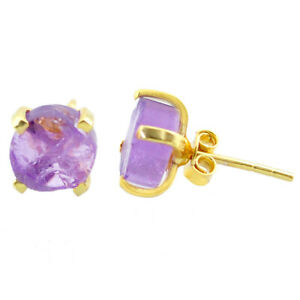 5.15cts Natural Purple Amethyst Rough 925 Silver 14k Gold Stud Earrings T31362