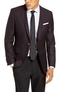 BNWT Hugo Boss Hutsons Trim Fit Bird's Eye Wool Sport Coat Size 42L MSRP $595!!