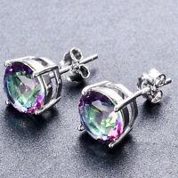 925 Sterling Silver Round Cut Mystic Rainbow Topaz Zircon Stud Earrings Jewelry