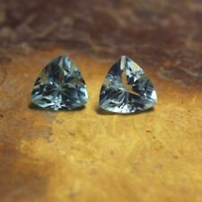 2 Pcs Pair Natural Sky Blue Aquamarine Trillion Faceted Loose Gemstone 6x6 MM