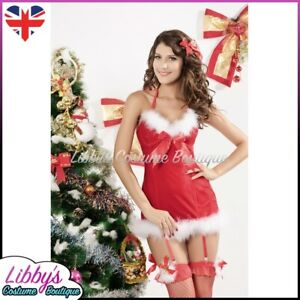 Ladies Mrs Miss Santa Claus ChistmasXmas Sexy Fancy Dress Costume Outfit UK 6-8