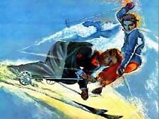 PAINTING ILLUSTRATION SPORT SKI SNOW WINTER USA FINE ART PRINT POSTER CC673