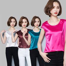 2018 Women Satin Silk Cap Sleeve T-shirt Lady Plain Crew Neck Top Tee Casual