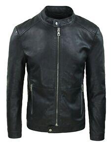 Giubbotto giacca uomo slim fit Ecopelle Nero casual giubbino chiodo bomber moto
