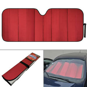 Foldable Jumbo Car Window Cover Sun Shade Auto Visor - Red Foil Reflective