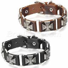 Men's Retro Punk Adjustable Leather Strap Bracelet Cross Cuff Bangle Wristband