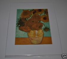 """VINCENT van GOGH  """"Sunflowers with Aqua Background"""" 1888 Matted 11"""" x 14"""""""