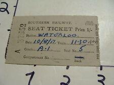 Vintage Travel Paper: 1951 southern railway seat ticket Waterloo
