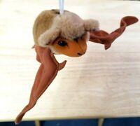 """1995 K & M Plush Stuffed Hanging Brown Bat 12"""" Wing Span Toy Vintage"""