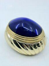 Vintage 1980s Boucheron Paris Golden Metal Jar With the Blue Cabochon Cap Rare