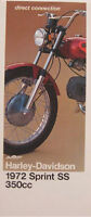 1972 Harley-Davidson ORIGINAL Sprint SS 350 Brochure Motorcycles