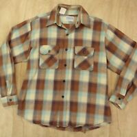 vtg usa union made FIVE BROTHER flannel work camp shirt LARGE brown plaid