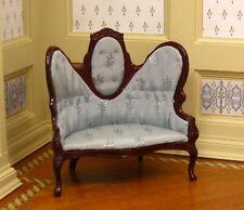 Bespaq Fantastic Mahogany Victorian Settee Blue Upholstery - Dollhouse Miniature