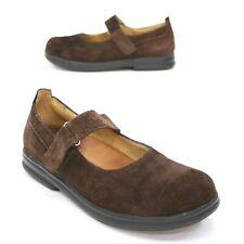 Birkenstock Footprints Ladies 38 N Mary Jane Brown Suede Hook Loop Strap Clogs