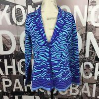 Isaac Mizrahi Live! Size Medium Blazer Floral Jacquard Sweater Knit Blue NWOT