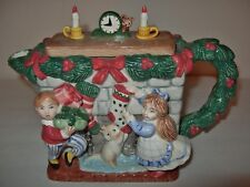 NEW! FITZ & FLOYD The Night Before Christmas Ceramic Teapot 1992 Mouse cat kids