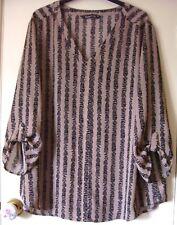Bon Marche top size 22 beige black chiffon tunic blouse 3/4 roll sleeves a
